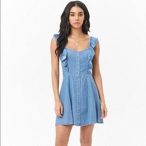 Forever21 Chambray Ruffle Mini Dress